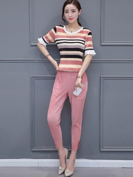 Ericdress Unique Stripe T-Shirt Suit
