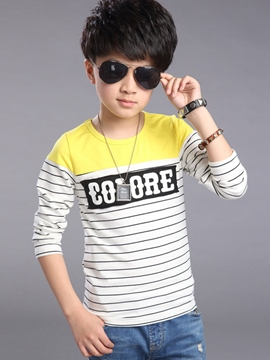 Ericdress Color Block Strip Letter Printed Boys Tops