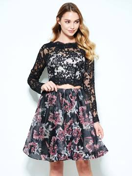 Ericdress A-Line Bateau Long Sleeves Lace Printed Short Homecoming Dress
