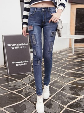 Ericdress Unique Worn Letter Print Jeans