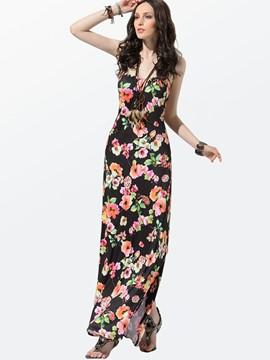 Ericdress Black Spaghetti Strap Backless Maxi Dress