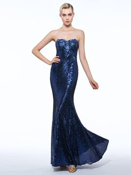 Ericdress Sheath Sweetheart Sequins Floor-Length Evening Dress