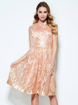 Ericdress A-Line Bateau Lace Knee-Length Homecoming Dress