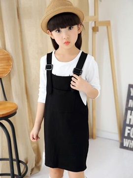 Ericdress Stylish Suspender Letter Printed Long Sleeve Girls Outfits