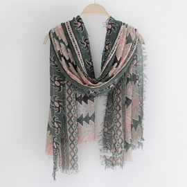Ericdress Wrinkle Print Linen Scarf