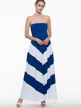 Ericdress Strapless Stripe Color Block Maxi Dress