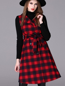 Ericdress Color Block Plaid Slim Trench Coat