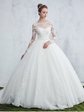 Ericdress Beautiful Illusion Neck Appliques Ball Gown Long Sleeves Wedding Dress
