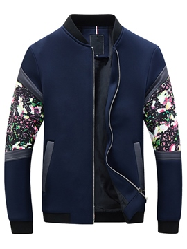 Ericdress Casual Floral Patchwork Men's Jacket