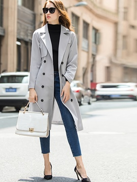 Ericdress Solid Color Slim Double-Breasted Trench Coat