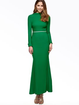Ericdress Solid Color Open Back Trumpet Maxi Dress