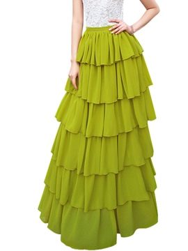 Ericdress Solid Color Layered Maxi Skirt
