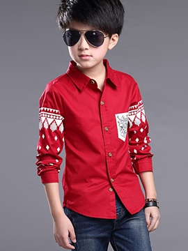 Ericdress Color Block Lapel Boys Shirt