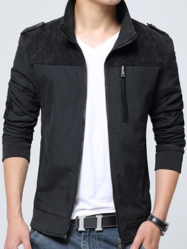 Ericdress Zip Patchwork Casual Men's Jacket