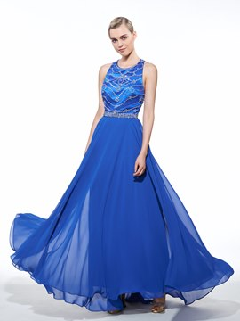 Ericdress A-Line Halter Beadings Floor-Length Prom Dress