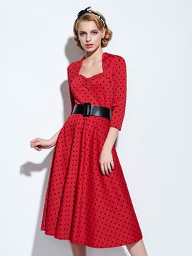 Ericdress Vintage Polka Dots Expansion Casual Dress