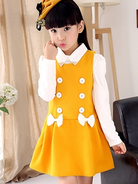 Ericdress Sleeveless Bowknot Pleated Girls Dress