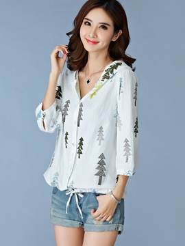 Ericdress Plant Printed Loose Blouse