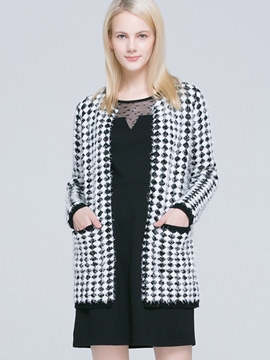 Ericdress Loose Plaid Cardigan Knitwear