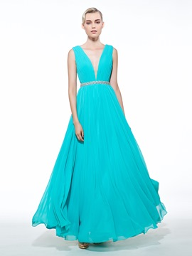 Ericdress A-Line V-Neck Beading Ruched Floor-Length Prom Dress