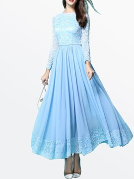 Ericdress Solid Color Lace Patchwork Long Sleeve Maxi Dress
