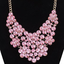 Ericdress Pink Crystal Glass Pendant Necklace