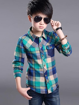 Ericdress Plaid Button Pocket Boys Tops