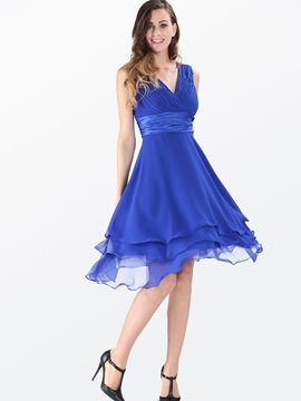 Ericdress Soild Color Asymmetric Casual Dress