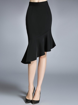 Ericdress Solid Color Asymmetric Usual Skirt