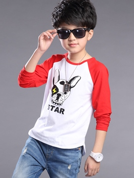 Ericdress Casual Dog Printed Patchwork Boys Tops