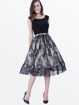 Ericdress Lace Pactchwork Skater Casual Dress