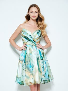 Ericdress A-Line Sweetheart Printed Knee-Length Homecoming Dress
