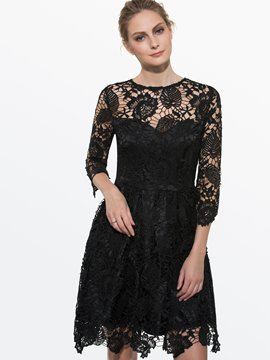 Ericdress Summer Soild Color Hollow Lace Dress