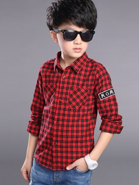 Ericdress Plaid Letter Printed Boys Tops