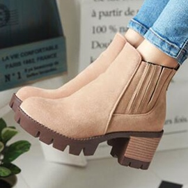 Ericdress Simple Suede Chunky Martin Boots