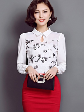 Ericdress Slim Printed Peter Pan Blouse