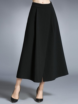 Ericdress Solid Color Asymmetric Expansion Maxi Skirt