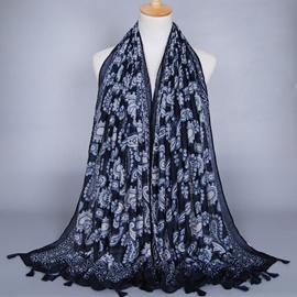 Ericdress Navy Blue Printed Fringed Scarf