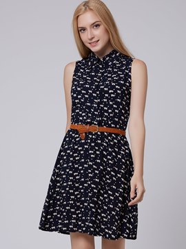 Ericdress Dark Blue Polo Neck Casual Dress