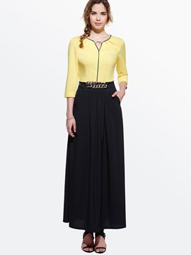 Ericdress Color Block Patchwork Three-Quarter Sleeve Maxi Dress