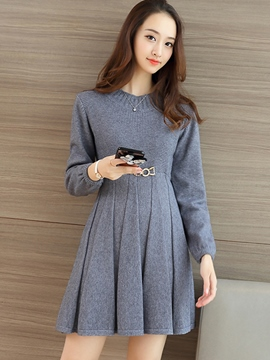 Ericdress Solid Color A-Line Long Sleeve Casual Dress