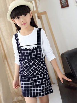 Ericdress Plaid Suspenders Girls Skirt Outfit