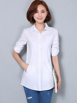 Ericdress Solid Color Single-Breasted Casual Blouse