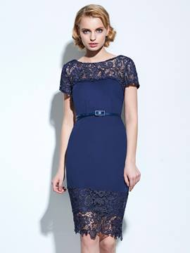 Ericdress Lace Patchwork Short Sleeve Bodycon Dress