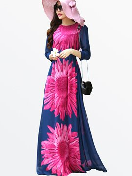 Ericdress Flower Print Three-Quarter Sleeve Round Neck Maxi Dress