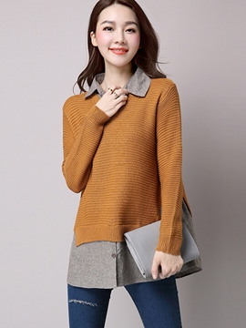 Ericdress Color Block Button Loose Knitwear