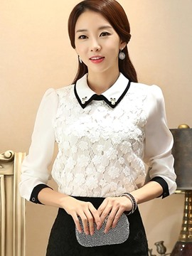 Ericdress White Lace Panel Long Sleeve Blouse