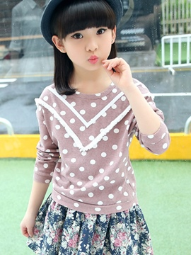 Ericdress Long Sleeve Polka Dots Girls T-Shirt