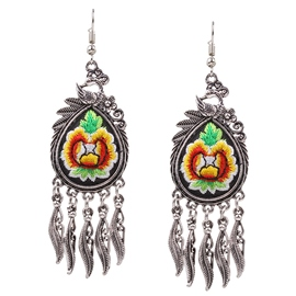Ericdress Ancient Silver Embroidery Earrings
