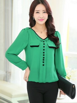 Ericdress Color Block Single-Breasted Chiffon Blouse